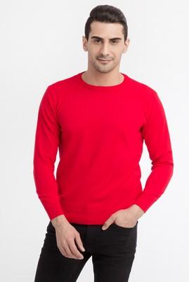 Erkek Giyim - Kırmızı L Beden Bisiklet Yaka Soft Triko Kazak