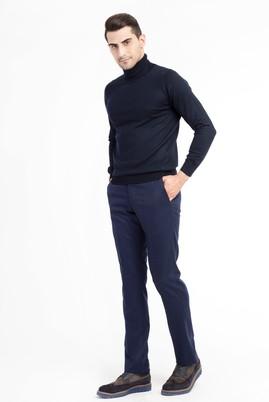 Erkek Giyim - Lacivert 46 Beden Yünlü Flanel Pantolon