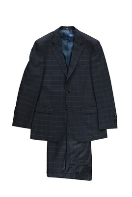 Erkek Giyim - Lacivert 52 Beden Kareli Takım Elbise