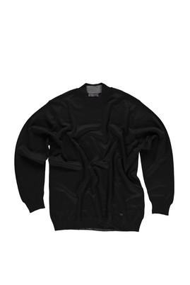 Erkek Giyim - Siyah 4X Beden King Size Bato Yaka Yünlü Triko Kazak