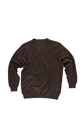 Erkek Giyim - Kahve 5X Beden King Size V Yaka Yünlü Triko Kazak