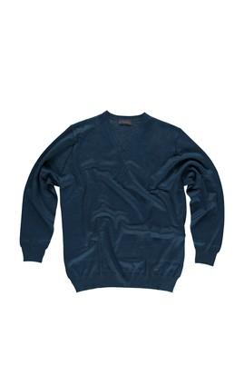 Erkek Giyim - Petrol 4X Beden King Size V Yaka Triko Kazak