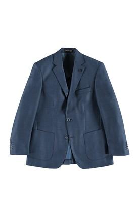 Erkek Giyim - MAVİ 66 Beden Regular Fit Yünlü Kuşgözü Ceket