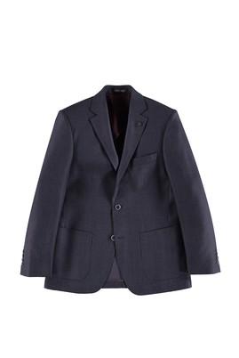 Erkek Giyim - Mor 50 Beden Regular Fit Yünlü Kuşgözü Ceket