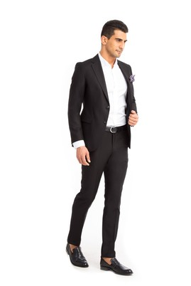 Erkek Giyim - Siyah 50 Beden Süper Slim Fit Takım Elbise