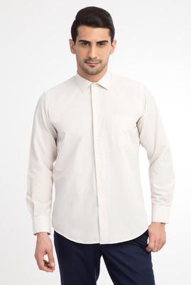 Erkek Giyim - Krem L Beden Uzun Kol Klasik Gömlek