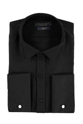 Erkek Giyim - Siyah XL Beden Ata Yaka Slim Fit Gömlek