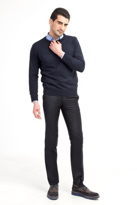 Erkek Giyim - Lacivert 48 Beden Slim Fit Desenli Pantolon