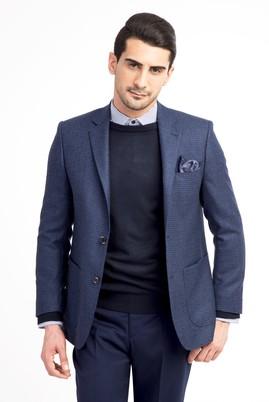 Erkek Giyim - Mavi 64 Beden Desenli Ceket