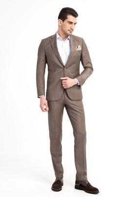 Erkek Giyim - Açık Kahve - Camel 62 Beden Klasik Takım Elbise