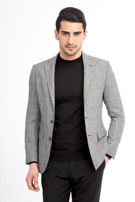 Erkek Giyim - Siyah 48 Beden Regular Fit Yünlü Ekose Ceket