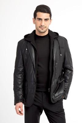 Erkek Giyim - Siyah 54 Beden Kapüşonlu Spor Kaban