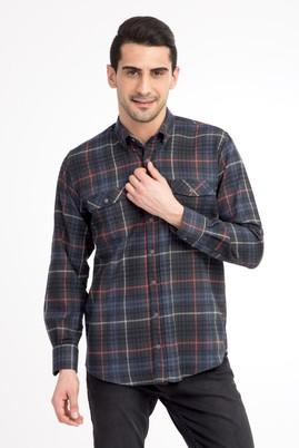 Erkek Giyim - KOYU YESİL L Beden Uzun Kol Oduncu Gömlek