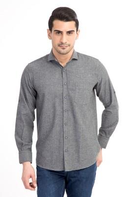 Erkek Giyim - Füme Gri L Beden Uzun Kol Oduncu Gömlek