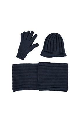 Erkek Giyim - Mavi STD Beden Atkı Bere Eldiven Set
