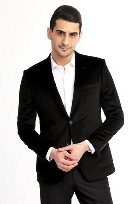 Erkek Giyim - SİYAH 50 Beden Kadife Ceket