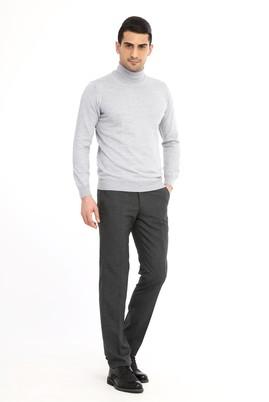 Erkek Giyim - Füme Gri 48 Beden Slim Fit Desenli Pantolon