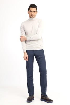 Erkek Giyim - KOYU MAVİ 48 Beden Slim Fit Desenli Pantolon