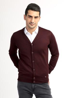 Erkek Giyim - Bordo XXL Beden Yünlü Klasik Hırka