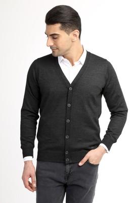 Erkek Giyim - Antrasit XXL Beden Yünlü Klasik Hırka