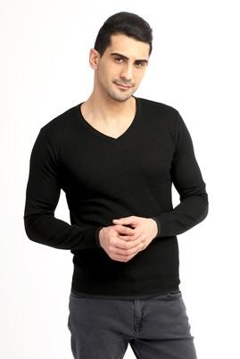 Erkek Giyim - Siyah M Beden V Yaka Slim Fit Triko Kazak
