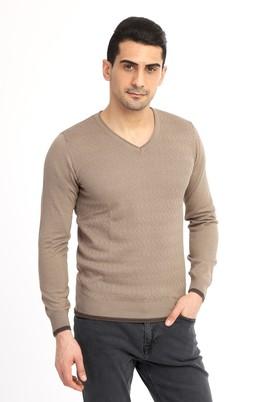 Erkek Giyim - Bej L Beden V Yaka Slim Fit Triko Kazak