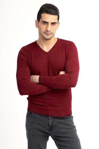 Erkek Giyim - V Yaka Slim Fit Yünlü Triko Kazak