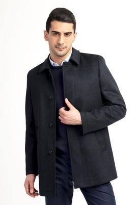 Erkek Giyim - Lacivert 60 Beden Kaşe Yün Kaban