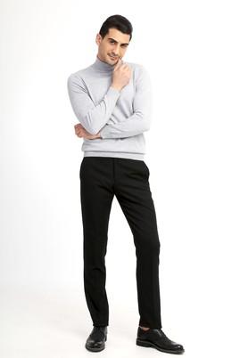 Erkek Giyim - Siyah 52 Beden Flanel Pantolon
