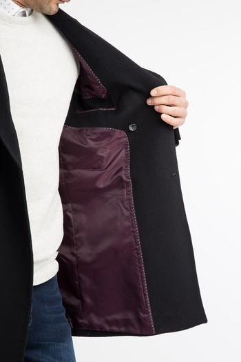 Erkek Giyim - Kruvaze Kaşe Yün Palto