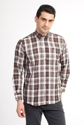 Erkek Giyim - Füme Gri L Beden Uzun Kol Ekose Gömlek