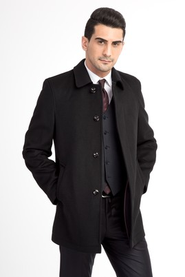 Erkek Giyim - Siyah 64 Beden Kaşe Yün Kaban