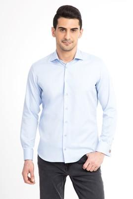 Erkek Giyim - Açık Mavi XS Beden Uzun Kol Slim Fit Manşetli Gömlek
