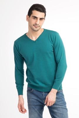 Erkek Giyim - Açık Yeşil XXL Beden V Yaka Slim Fit Triko Kazak