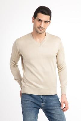 Erkek Giyim - Krem XL Beden V Yaka Slim Fit Triko Kazak