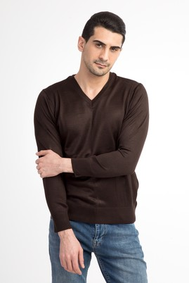 Erkek Giyim - Kahve S Beden V Yaka Slim Fit Triko Kazak