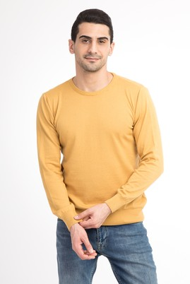 Erkek Giyim - Sarı L Beden Bisiklet Yaka Slim Fit Triko Kazak