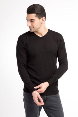 Erkek Giyim - Siyah L Beden V Yaka Slim Fit Triko Kazak
