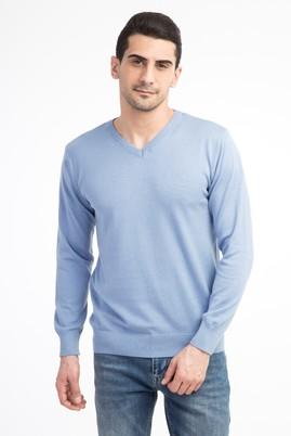Erkek Giyim - Mavi L Beden V Yaka Slim Fit Triko Kazak