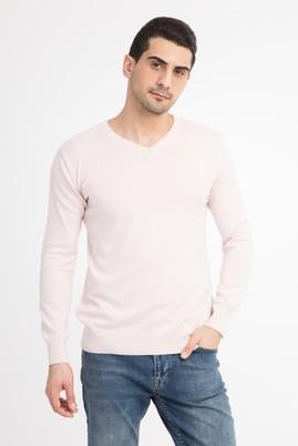 Erkek Giyim - Pembe XXL Beden V Yaka Slim Fit Triko Kazak