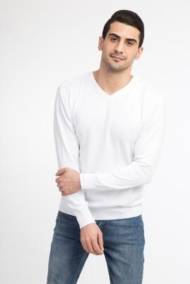 Erkek Giyim - Beyaz XL Beden V Yaka Slim Fit Triko Kazak