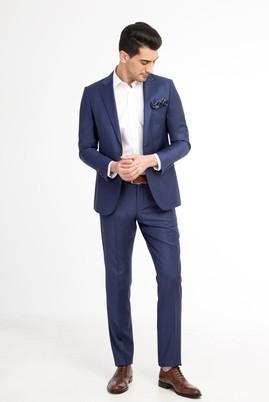 Erkek Giyim - Mavi 52 Beden Ekose Takım Elbise