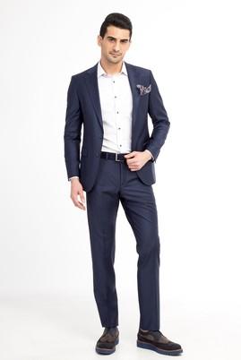Erkek Giyim - KOYU MAVİ 56 Beden Ekose Takım Elbise