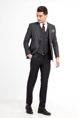 Erkek Giyim - Antrasit 46 Beden Slim Fit Yelekli Kombinli Takım Elbise