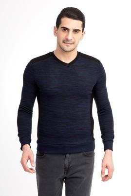 Erkek Giyim - Lacivert S Beden V Yaka Slim Fit Triko Kazak
