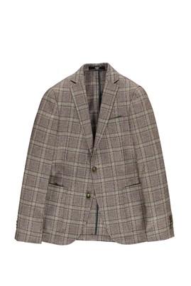 Erkek Giyim - Kahve 48 Beden Slim Fit Ekose Ceket