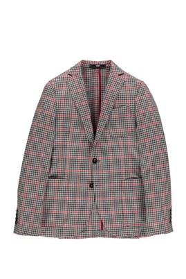 Erkek Giyim - Kırmızı 48 Beden Slim Fit Kareli Ceket