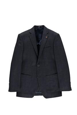 Erkek Giyim - Lacivert 52 Beden Slim Fit Ekose Ceket