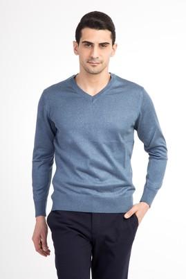 Erkek Giyim - Lacivert XL Beden V Yaka Slim Fit Triko Kazak