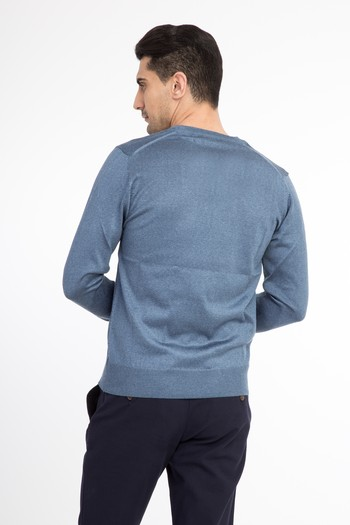 Erkek Giyim - V Yaka Slim Fit Triko Kazak